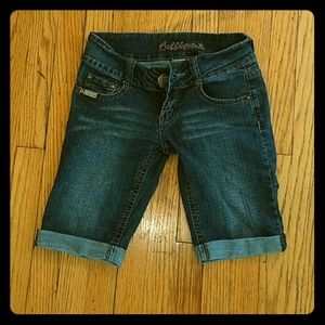 Dark Denim Bermuda Skinny Shorts